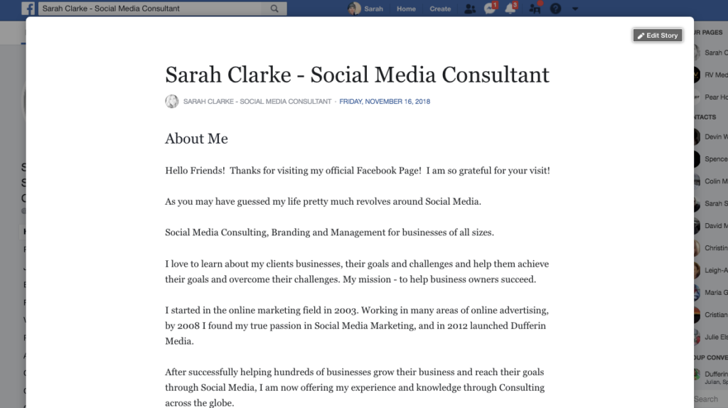 Facebook business page Story